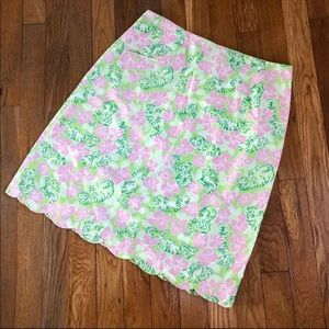 Lilly Pulitzer Pink & Green Print Scallop Skirt 8